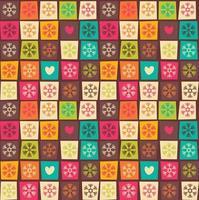 modelli senza cuciture con quadrati colorati e fiocchi di neve vettore