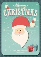 Merry Christmas Card con Babbo Natale e confezioni regalo su sfondo invernale vettore