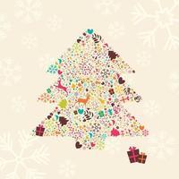 albero di natale ornamentale con renne, scatole regalo e fiocchi di neve