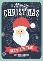 Merry Christmas Card con Babbo Natale su sfondo invernale vettore