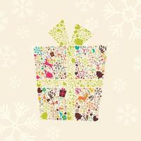 confezione regalo di Natale ornamentale con renne, fiocchi di neve e fiori