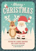 Merry Christmas Card con Babbo Natale e renne su sfondo invernale vettore