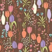 Vector seamless con elementi floreali, fiori primaverili, tulipani, gigli e vasi