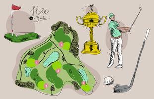Illustrazione disegnata a mano di vettore di campionato d'annata di golf