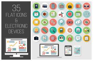 35 icone web piatte e 4 dispositivi elettronici vettore