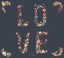 fiori vintage disegnati a mano ed elementi floreali per matrimoni, San Valentino, compleanni e festività vettore