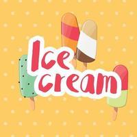 poster design con gelato colorato lucido vettore