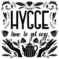 concetto di hygge. disegno di motivi popolari scandinavi con scritte a mano in bianco e nero vettore
