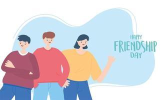 felice giornata dell'amicizia, celebrazione di eventi speciali di personaggi dei cartoni animati di uomini e donne vettore