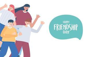 felice giornata di amicizia, gruppo di amici diversi di persone celebrazione di eventi speciali vettore