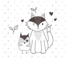 simpatici animali schizzo fauna selvatica cartone animato adorabile volpe e gufo foglie amore cuori vettore