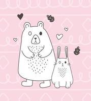 simpatici animali schizzo fauna selvatica cartone animato adorabile orso coniglio amore cuori sfondo rosa vettore