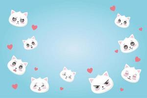 simpatici gatti con varie emozioni cuori amano i cartoni animati affronta gli animali vettore