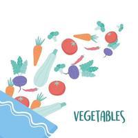 verdure che cadono in un'insalatiera cibo sano vettore