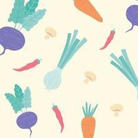 cipolla carota barbabietola funghi cibo fresco verdure sfondo vettore