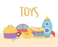 oggetto di giocattoli per bambini piccoli per giocare a tamburo del fumetto, macchina a razzo, anatra e scatola per il pranzo