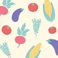 sfondo di verdure cucina, menu del ristorante cibo vegetariano fresco melanzane pomodoro e mais