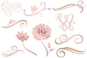 Vettori di ornamenti in oro rosa