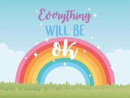tutto andrà bene arcobaleno sulla natura del prato, messaggio positivo