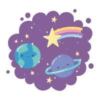 cartone animato pianeti terra saturno stella cadente stelle sfondo viola decorazione vettore