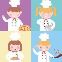 personaggio dei cartoni animati bambino chef professione con cibo e utensili da cucina vettore