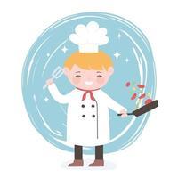personaggio dei cartoni animati di chef con padella e spatola nelle mani vettore