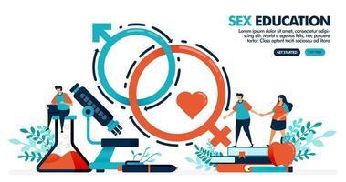 illustrazione vettoriale di persone stanno studiando l'educazione sessuale. romanticismo sessuale per la salute mentale e fisica. lezione di biologia umana e anatomia. design per landing page, web, banner, template, poster, ui ux