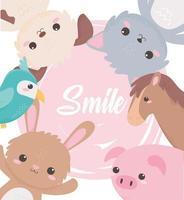 simpatico cane gatto coniglio maiale pappagallo cavallo animali dei cartoni animati