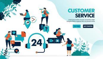 Servizio clienti 24 ore su 24 per aiutare gli utenti a risolvere i problemi. il servizio di chat aiuta a porre domande con problemi tecnici. illustrazione vettoriale piatta per pagina di destinazione, web, sito Web, banner, app mobili, flyer, poster