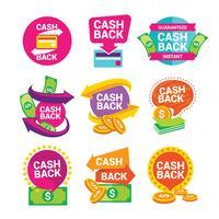 Contrassegni ed etichette di vettore di denaro contante indietro