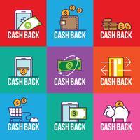 Set di Cashback Badge per negozio, etichetta Tag Cash Back After Sale Illustration