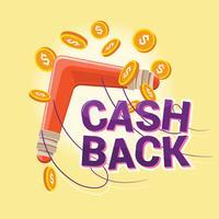 Cash back reward concept. Restituendo boomerang con soldi