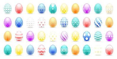 set di uova di Pasqua colorate con bellissimi motivi astratti vettore