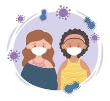 due ragazze con maschera protettiva, prevenzione della malattia da coronavirus, covid 19 vettore
