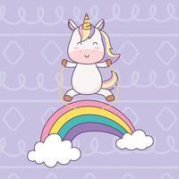 unicorno kawaii che gioca con la corda nella fantasia magica del personaggio dei cartoni animati arcobaleno vettore