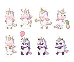 piccoli unicorni kawaii e panda con fantasia magica del personaggio dei cartoni animati vettore