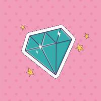 icona della decorazione dell'autoadesivo del distintivo della moda della toppa della gemma del diamante vettore