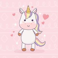 unicorno kawaii amore cuori personaggio dei cartoni animati fantasia magica vettore