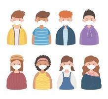 persone con maschere protettive mediche, prevenzione dell'epidemia di coronavirus covid 19