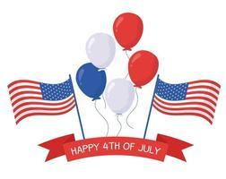 giorno dell'indipendenza palloncini e bandiere disegno vettoriale