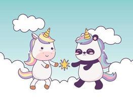 unicorno kawaii e panda con stella tra le nuvole personaggio dei cartoni animati fantasia magica vettore