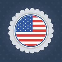 Bandiera degli Stati Uniti sigillo timbro disegno vettoriale