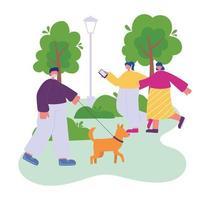 uomo con cane e amici ragazze con lo smartphone che cammina nel parco vettore