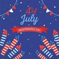 fuochi d'artificio del giorno dell'indipendenza con disegno vettoriale del nastro