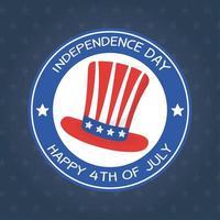 giorno dell'indipendenza cappello sigillo timbro disegno vettoriale