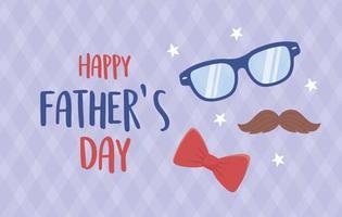felice festa del papà, baffi occhiali farfallino stelle decorazione vettore