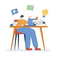 uomo con laptop e libri sul disegno vettoriale scrivania