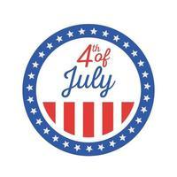 giorno dell'indipendenza a strisce e stellato sigillo timbro disegno vettoriale