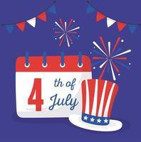 giorno di indipendenza cappello calendario e fuochi d'artificio disegno vettoriale