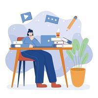 donna con laptop e libri sulla scrivania disegno vettoriale